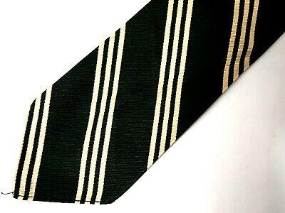 Brooks Brothers Makers Boys Necktie Tie Green Beige Striped Repp Silk