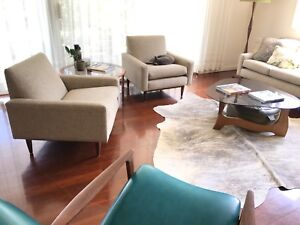 Mid Century Retro Parker Furniture 4 Seater Lounge 2x Armchairs