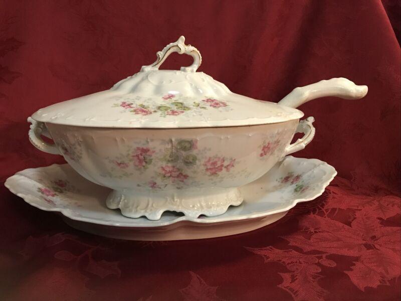 Antique Habsburg China Austrian Large Soup Tureen Platter Ladle Pink Floral