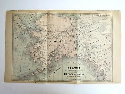 Original Antique 1899 Atlas Map Of Alaska & The Yukon Gold Fields/Cuba, Oversize