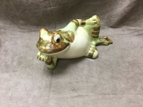 "Fabulous Vintage Ceramic Lounging Frog  9"" Long!"