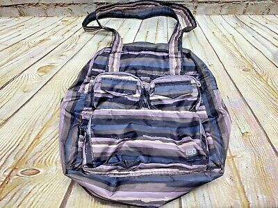 Lug Puddle Jumper Overnight Gym Bag Tote Full Size Foldable Gray Purple