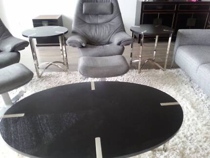 Black/Chrome Coffee and 2 x Side Tables set - modern and like new