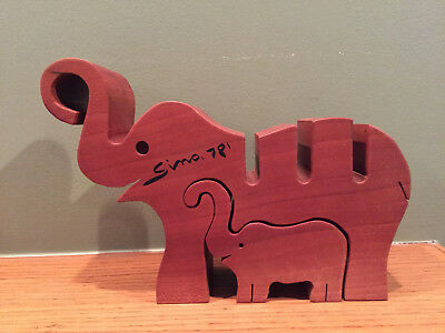 1978 Hand Carved Wooden Elephant & Calf Desk Set Organizer ~ Artist Signed
