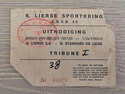 Ticket Beker van Belgie SK Lierse - Standard de Liege 1987/88