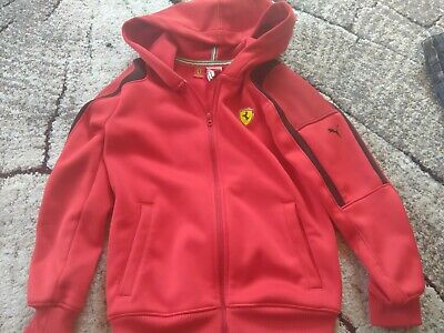 Official Red Puma Ferrari size 24/26 7-8 Years Zipped tracksuit top Kids Boys