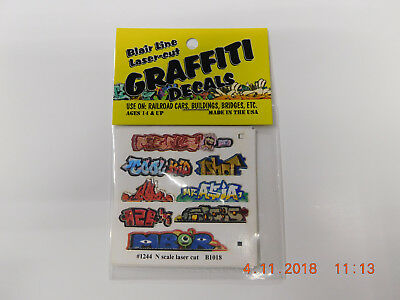 BLAIR LINE LASER CUT GRAFFITI DECALS N SCALE #1245 SET # 2 Laser Cut Decals