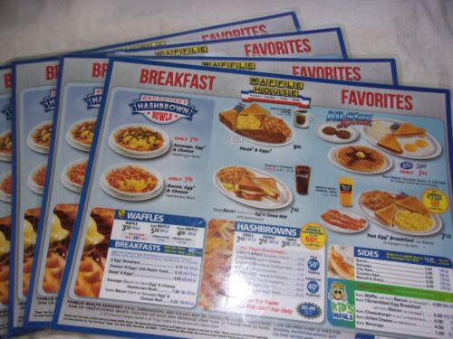 4 Waffle House Place Mat Menus 11X14 Right From My Local Restaurant Gently Used