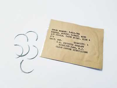 18 Suture Needles Mayo Catgut Size 4 Veterinary Surgical 12 Circle Taper Point