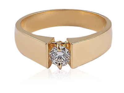 Classy 0.50 Cts GIA Certified Natural Diamond Men's Ring In Fine 18K Yellow Gold