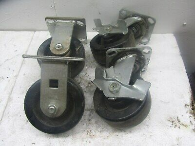 Bassick Prism Casters 2 Straight 2 Lock Swivel Used