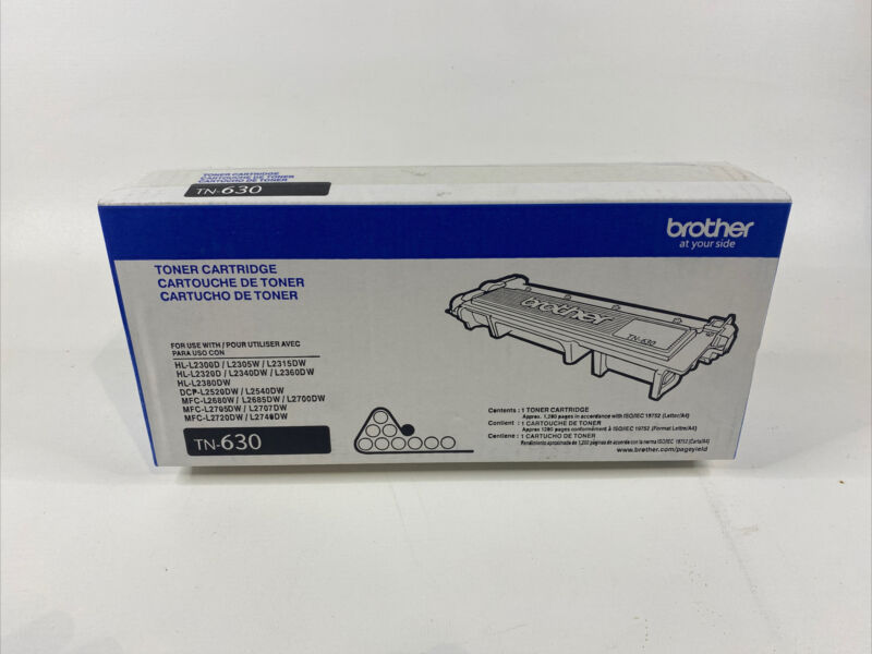 New Brother Genuine TN630 TN-630 Black Toner Cartridge