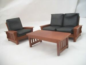 living room set craftsman mission style dollhouse furniture 1 12 scale