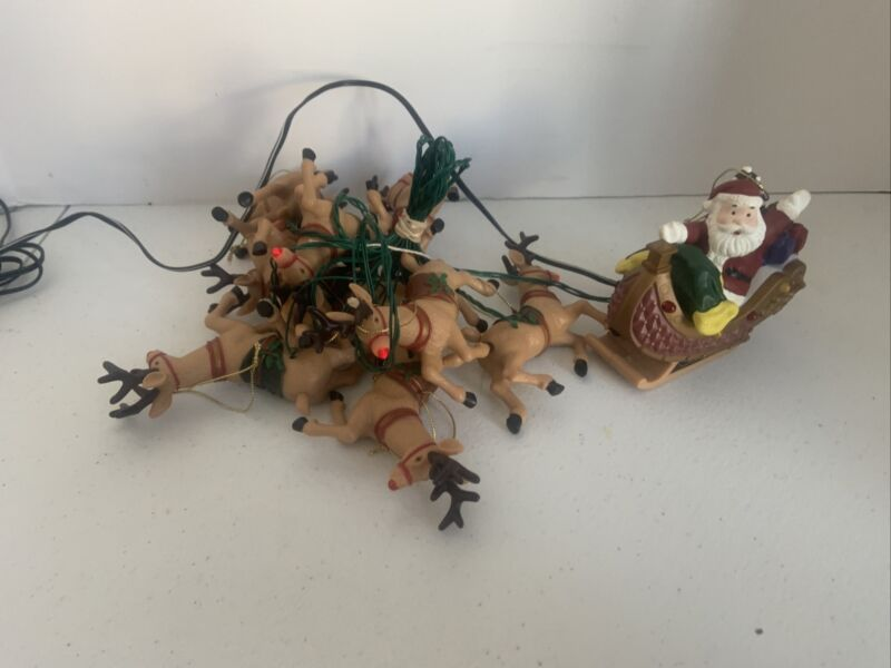 Santa In Sleigh and Reindeer Christmas String Lights Set Working