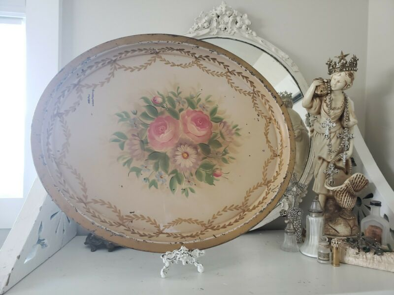 OOH! Antique French Tole Tray Hand Painted FLOWERS Toleware Oval SWAGS 2 FOOT! ♡