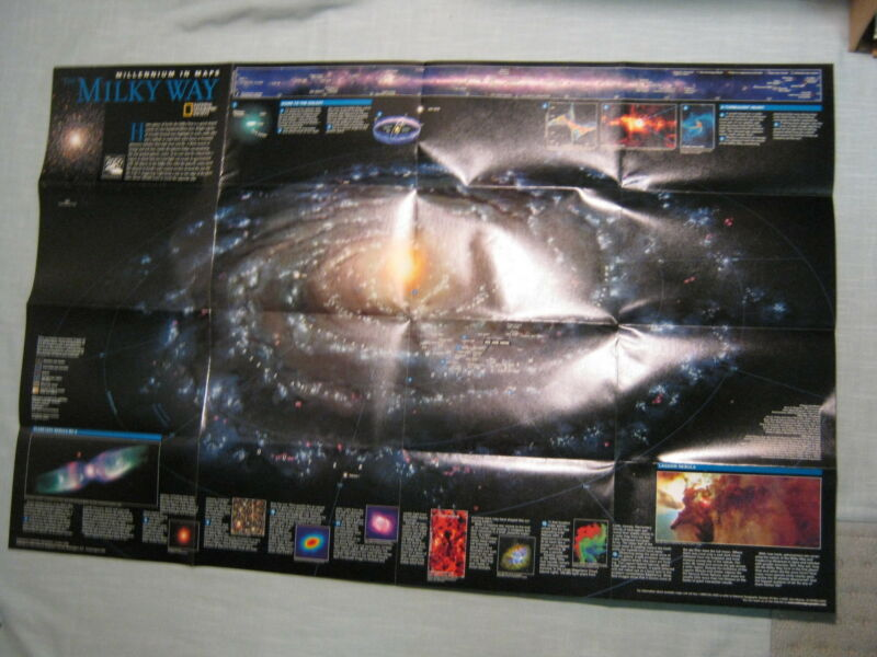 THE MILKY WAY + THE UNIVERSE MAP STARS National Geographic October 1999 MINT
