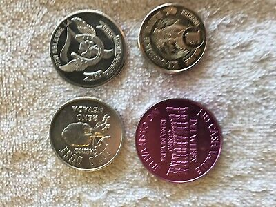 Lot of 4 Vintage Casino Tokens