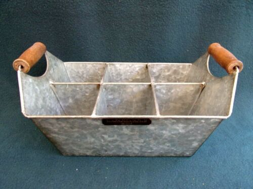 MAGNOLIA HOME GALVANIZED METAL 6 COMPARTMENT CADDY  2 wooden handles, sturdy