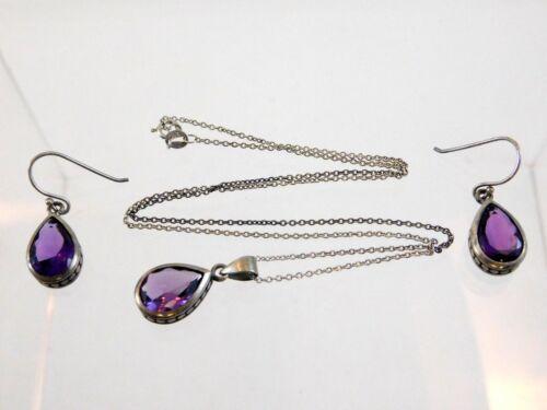 Vintage Coldwater Creek Sterling Silver Amethyst Necklace Earrings Set 925