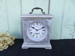 Drawer Pull Table Shelf Mantle Square Box Clock White Wash ~ Farmhouse Cottage
