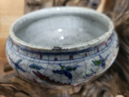 Chinese DOU-CAI With Crackle Porcelain Pen Wash Pot