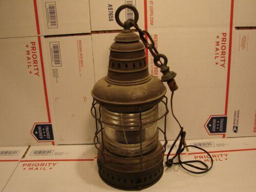 THE PORTER CO ELECTRIC MARITIME NAUTICAL HANGING FRESNEL LENS LAMP LANTERN LIGHT