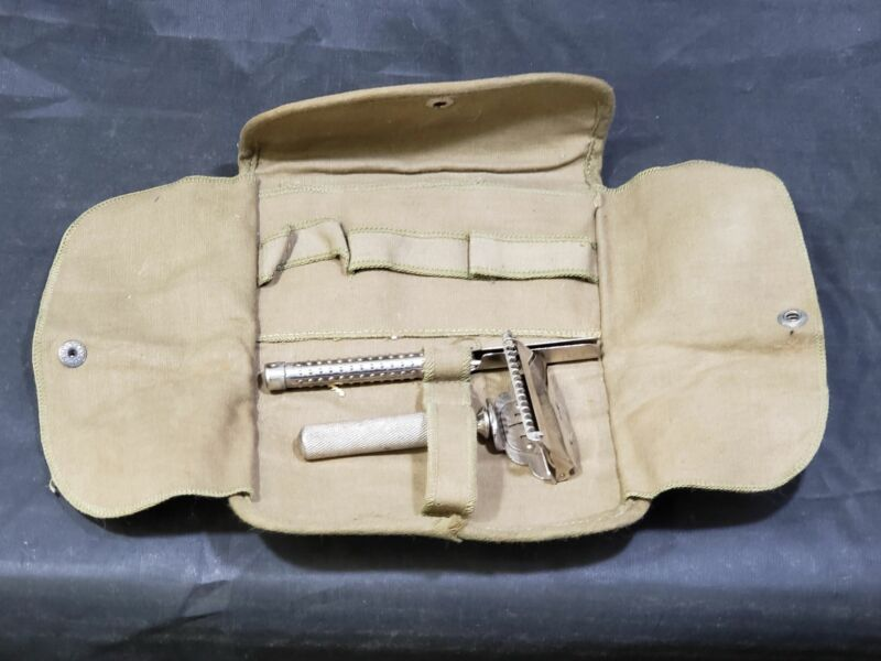 WWI Era US Army Gem Personal Carrying Pouch with Gem Safety Razor