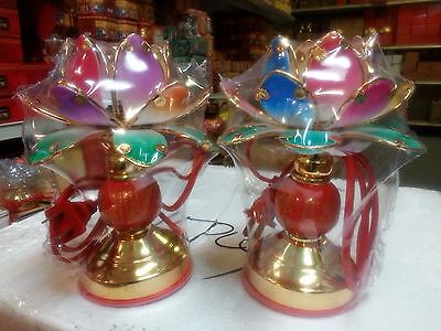 1pair Chinese Light Table Desk LOTUS Flower Lantern Buddhist Lamp 7.5H
