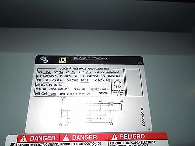 Square D 166kva 480y277-434y251v 3ph Dry Type Transformer Used Electrically Ok