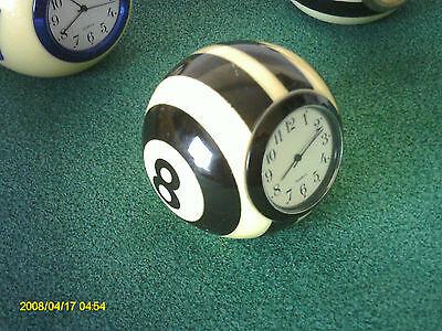 Handmade Billiard Ball Desk Clock 8-Ball  Black//Silver//Gold Unique Gift!
