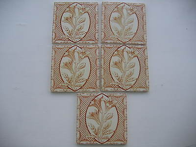 Genuine antique set of 5 tiles.  Believed to be late victorian/early edwardian.