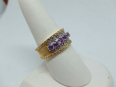 14k Yellow Gold Amethyst Diamond Ring Size 9.5 - $460.00