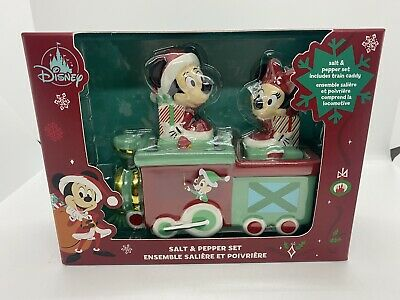 Disney Parks 2020 Christmas Holidays Mickey Minnie Train Salt Pepper Shaker Set
