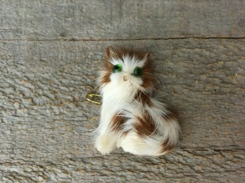 Vintage Real Fur Kitty Cat Brooch Pin For Repair