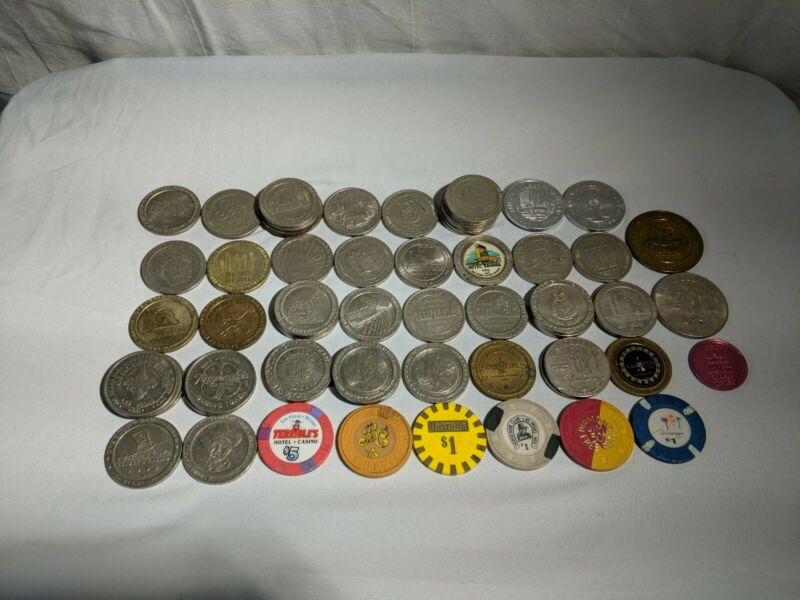 Lot of (65) Authentic Diffrent Las Vegas Casino  Casino/Poker chips!!