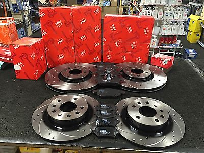 VAUXHALL ASTRA ZAFIRA GSI TURBO BRAKE DISC CROSS DRILLED GROOVED PAD TRW FR RR for sale  Shipping to Ireland