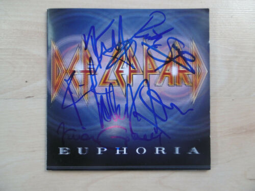 """Def Leppard Autogramme full signed CD Booklet """"Euphoria"""""""