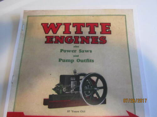 1927 witte Gas Engine, power saw, pump outfit Information Catalog