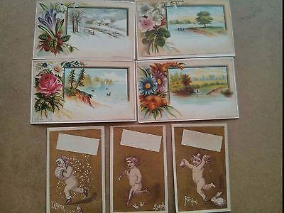 "#ORIGINAL 1800's VICTORIAN Trade Cards Lot of 7  4.5 x 3"" Seasons"