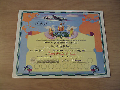 1957 Presentation Certificate  Trans World Airlines  Skyliner Over Atlanticus
