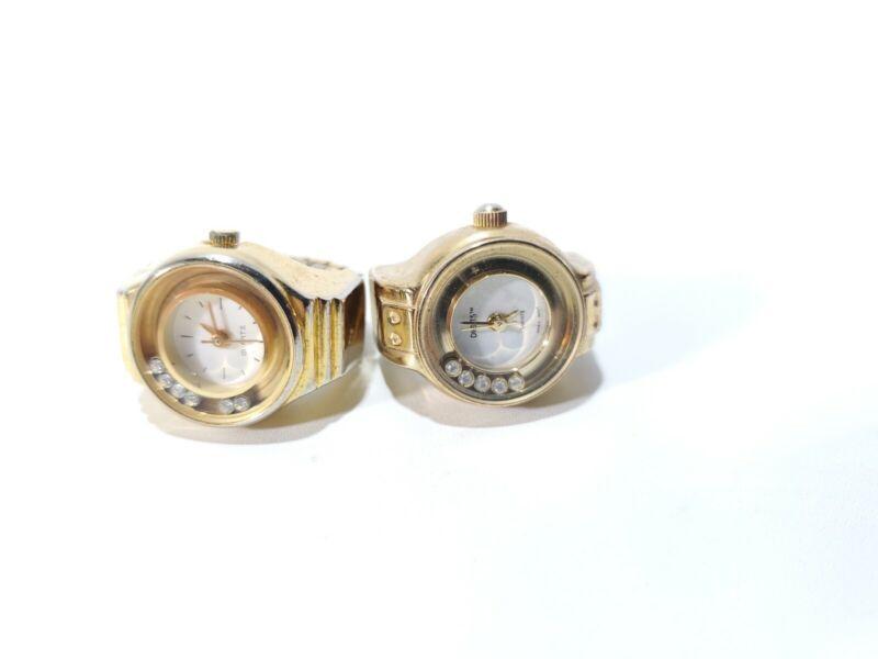 DIGITS Bonetto Quartz Vintage Ring Watch 5 movable faux diamonds 2. Dif Brands