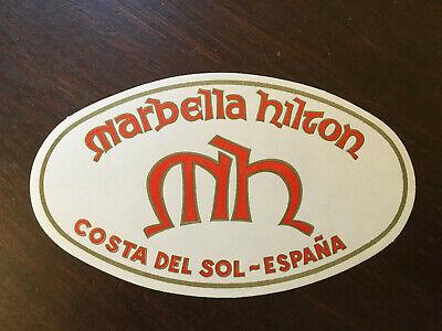 Marbella Hilton Unused Vintage Luggage label, Costa Del Sol- Espana (Spain)