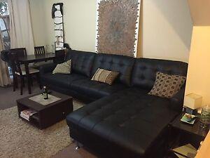 Black couch with large chaise Parramatta Parramatta Area Preview