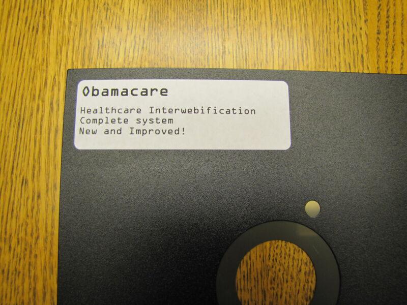 """Vintage 8"""" Floppy Disk Obamacare Healthcare Interwebification, A Big Joke!"""