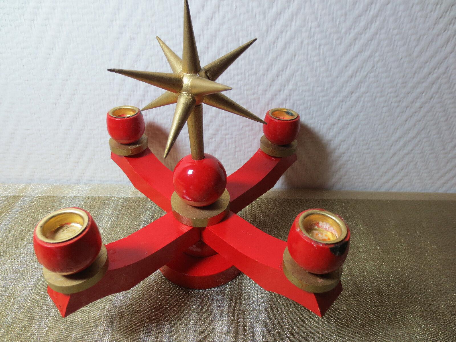 Erzgebirge kleiner, schöner Adventskerzenhalter, rot mit Prachtstern, Stern