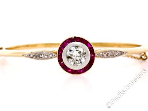 Antique 18k Gold & Platinum 2.75ctw Old Cut Diamond Ruby Halo Bangle Bracelet