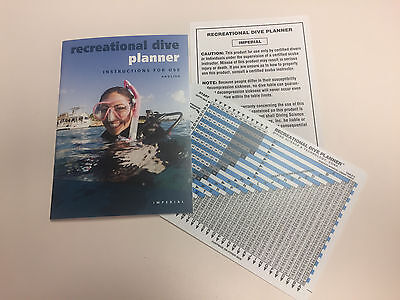 PADI Item 60099 Recreational Dive Planner Table w/instructions RDP Imperial - Padi Dive Tables