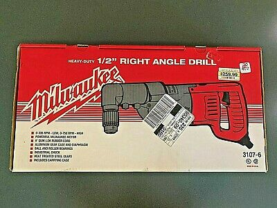 Milwaukee Heavy Duty 12 Right Angle Drill 3107-6 In Red Metal Case Nib
