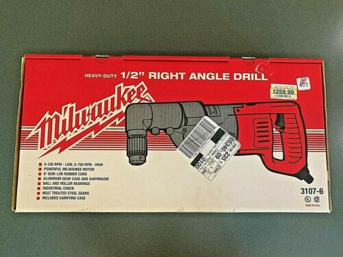 """Milwaukee Heavy Duty 1/2"""" Right Angle Drill 3107-6 in Red Metal Case NIB"""