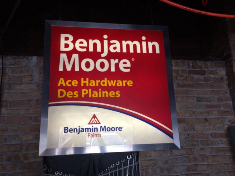 Benjamin Moore light up sign manufactured by Doyle from Ace Hardware